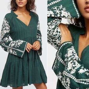 Free People Emerald City Embroidered Shift Dress